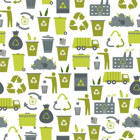 wheelie bin: Recycling garbage icons seamless pattern.