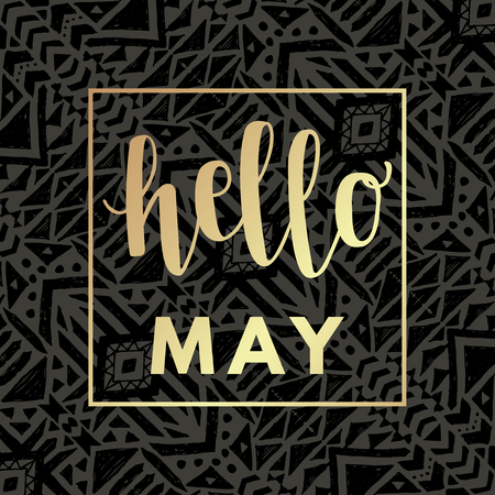 Hello may gold hipster boho chic background with aztec tribal mexican texture. Иллюстрация