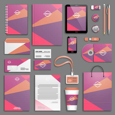 set colorata alla moda Modello di identità corporativa. Cancelleria di affari mock-up. Branding design. sfondo geometrico colorato.