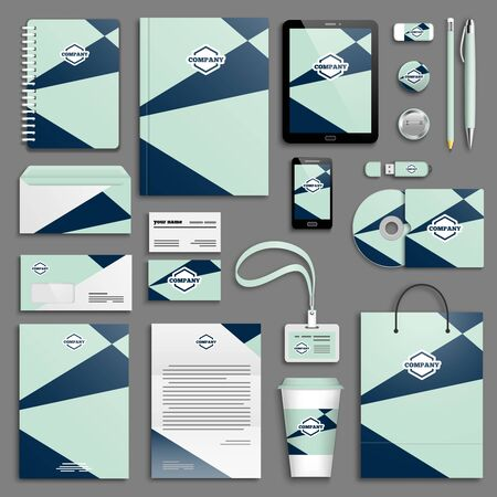 corporative: Trendy colorful Corporate identity template set. Business stationery mock-up . Branding design. Colorful geometric background.