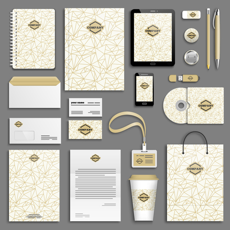 corporative: Trendy colorful Corporate identity template set. Business stationery mock-up with logo. Branding design. Colorful geometric background.