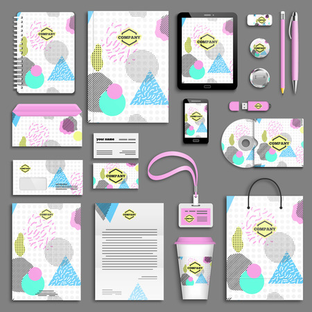corporative: Geometric trendy 80s retro Corporate identity template set. Business stationery mock-up with logo. Branding design. Funky hipster texture for phone case, poster, textile, art print.