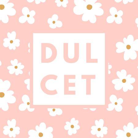 dulcet: Creative girlie printable journaling card. Dulcet sweetie girl. Girlie print. Romantic cute poster. Minimalism design for banner, flyer, wallpaper