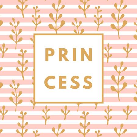 girlie: Creative girlie printable journaling card. Lovely princess. Girlie print. Romantic cute poster. Minimalism design for banner, flyer, wallpaper