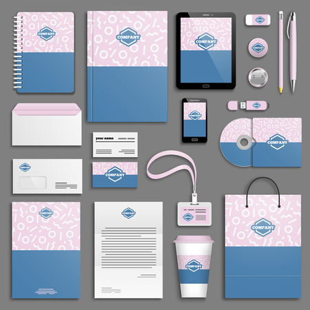 corporative: Trendy memphis colorful Corporate identity template set. Business stationery mock-up with logo. Branding design. Colorful background.
