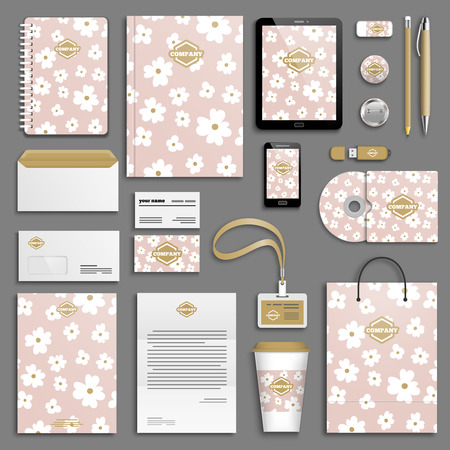 corporative: Trendy colorful Corporate identity template set. Business stationery mock-up with logo. Branding design. Colorful background.