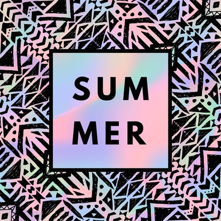 holography: Summer hipster boho chic background with holographic mesh and mexican layout. Minimal printable journaling card, creative card, art print, minimal label design for banner, poster, flyer.
