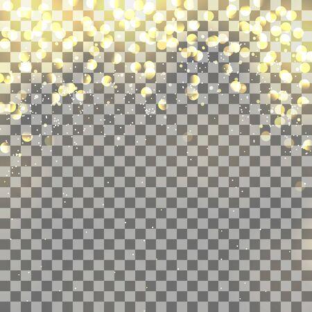 Light effects on transparent background. Burst, glitter, sparkle glow texture Vector Illustration