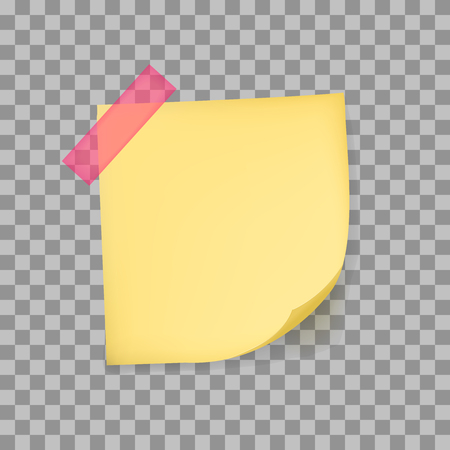 yellow tacks: Note paper with aghesive tape isolated on transparent background