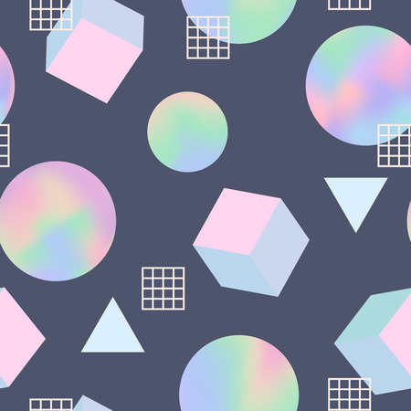 nineties: Geometric holographic trendy 80s retro seamless pattern. Holographic memphis background. Holographic retro layout. Funky hipster texture for phone case, poster, textile, art print. Hologram effect. Illustration