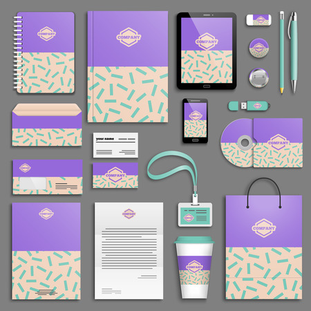 memphis: Trendy memphis colorful Corporate identity template set. Business stationery mock-up with logo. Branding design. Colorful background.