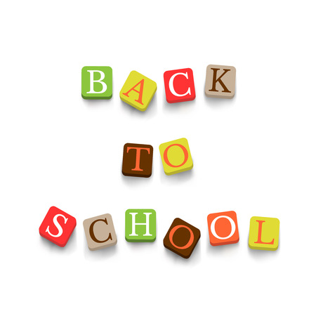 Back to school poster with colorful blocks. Education banner Illustration