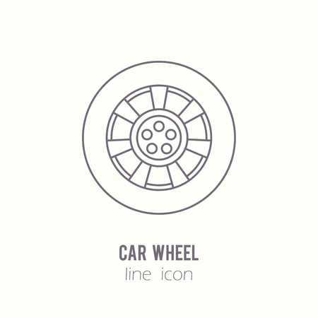 spare part: Car wheel line icon. Auto spare part. Car repair icon in outline style.