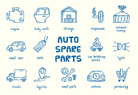 scarp: Set of auto spare parts. Car recyclers and scarp breaker icons