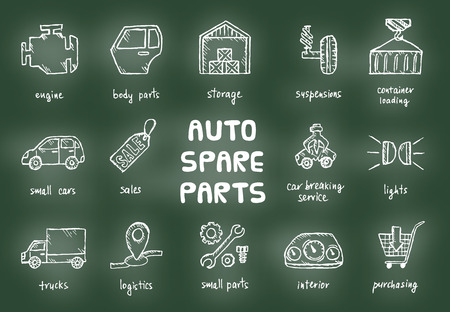 scarp: Set of auto spare parts. Car recyclers and scarp breaker icons in hand drawn style. Vector illustration EPS10. Illustration