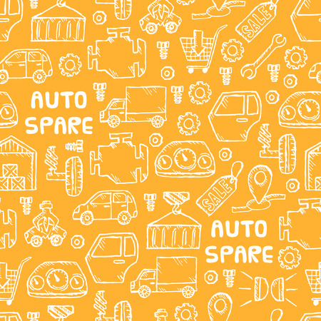 scarp: Auto spare parts seamless pattern. Car recyclers and scarp breaker icons background in hand drawn style. Vector illustration EPS10.