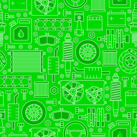 Auto spare parts seamless pattern. Car repair icons texture in outline style. Vector illustration EPS10. Illustration
