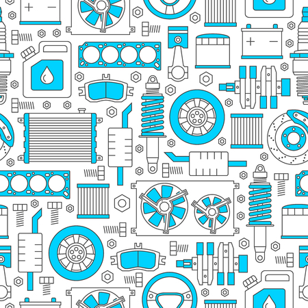 Auto spare parts seamless pattern. Car repair icons texture in outline style. Vector illustration EPS10. Vectores
