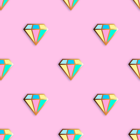 nineties: Fashion pins seamless pattern. Gem stone jewel with edging background. Illustration