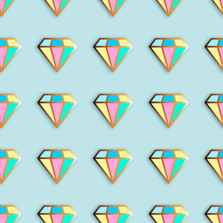 Fashion pins seamless pattern. Gem stone jewel with edging background. Illustration