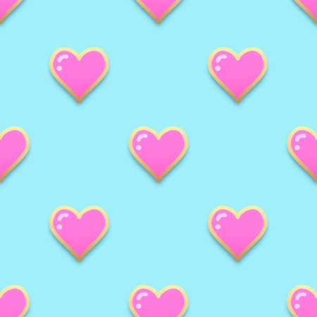 Fashion pins seamless pattern. Gem stone jewel heart with edging background.