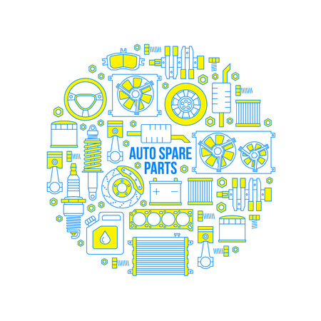 Set of auto spare parts Illustration