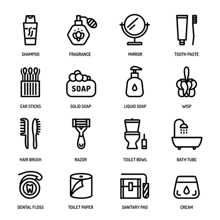 body care: Bathroom personal hygiene equipment, body care accessories vector linear icons. Illustration