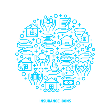 Insurance service blue outline icons set for banner, website, print, interface