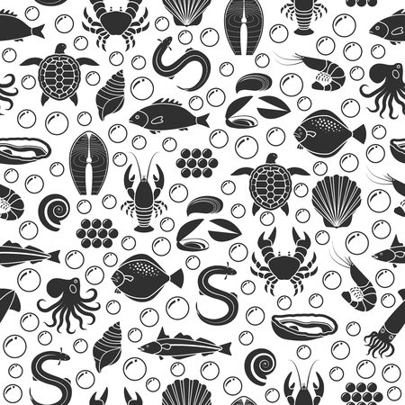 Seafood and fish icons seamless pattern Illustration