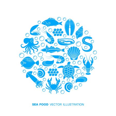Seafood and fish icons