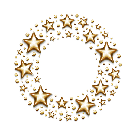Christmas gold stars and beads in circle on white background. Illustration