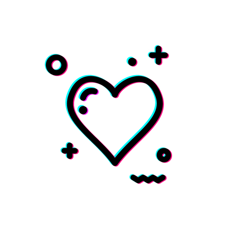 Glitch heart icon illustration. Иллюстрация