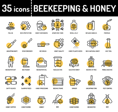 Honey beekeeping and apiculture line icons.