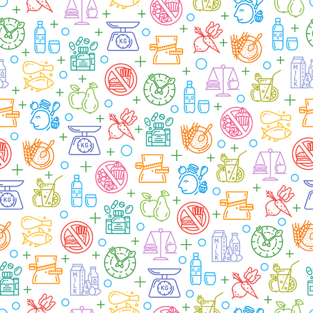 Seamless pattern with healthy diet icons