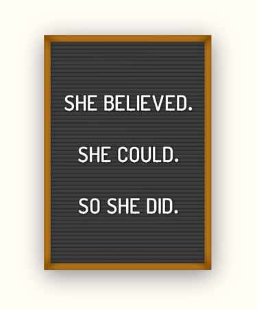 Motivation quote on black letterboard with white plastic letters. Hipster vintage inspirational poster 80x, 90x. She believed. She could. So she did. Иллюстрация