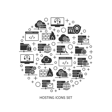 Icons of web hosting, a set of which formed a rounded background