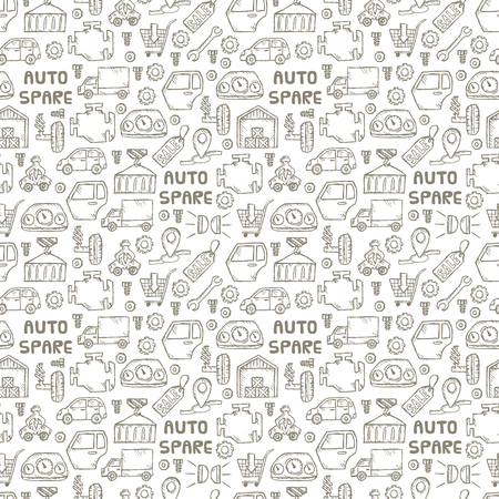 Car recyclers and scarp breaker and auto spare parts icons in hand drawn style. Background and seamless pattern vector illustration EPS10 Illustration