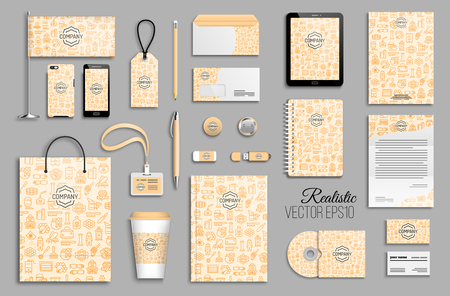 Corporate identity template set with beekeeping icons