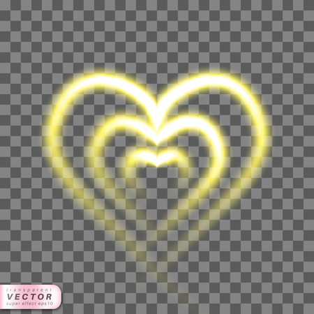 Shining heart realistic on transparent background. Bright light romantic template