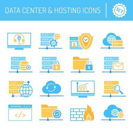 Data center hosting and cloud services icons set vector illustrations Ilustração