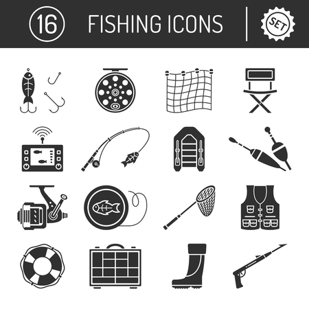 Set of Fishing icons in silhouette flat style isolated on white background. Collection of Bait for fish, fishing rod, Inflatable boat, Lifebuoy, Organizer, Floats, Landing net, Fish finder, Rubber boots, Spear gun, Chair and Coil vector illustration.