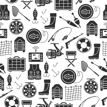 Seamless pattern with fishing gear vector icons in flat style isolated on white background. Ilustração