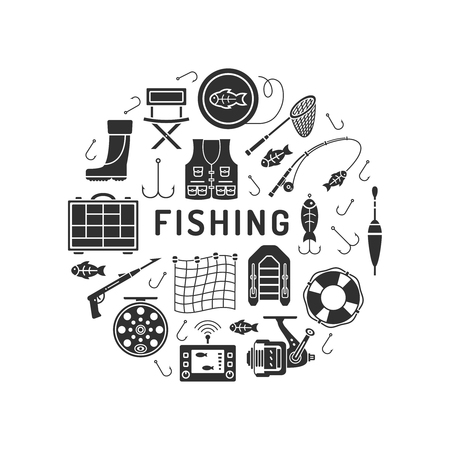 Set of Fishing icons in silhouette flat style isolated on white background. Ilustração