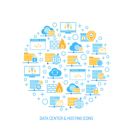 Set of Data center, hosting and cloud services icons. Collection of vector illustrations.