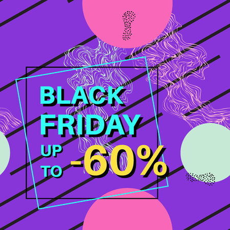 Black Friday sale. Online shopping banner with discount offer. Promotional design poster. Abstract background. Ilustração