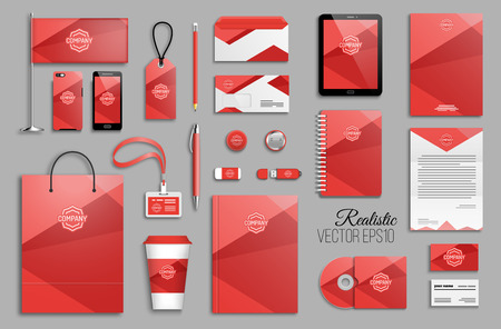 Corporate identity template set and business stationery mock-up with logo. Logo