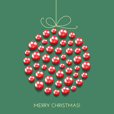 Greeting Christmas card with decor ball made with shine and sparkle red beads, pearl. Holiday banner. Vintage poster.