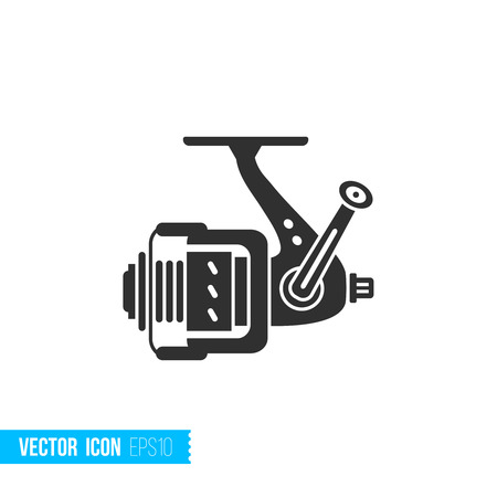 Fishing reel icon in silhouette flat style isolated on white background. Vector illustration.