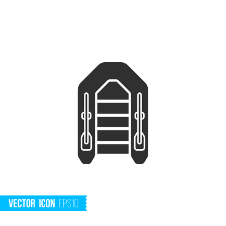 Inflatable boat icon in silhouette flat style isolated on white background. Vector illustration.