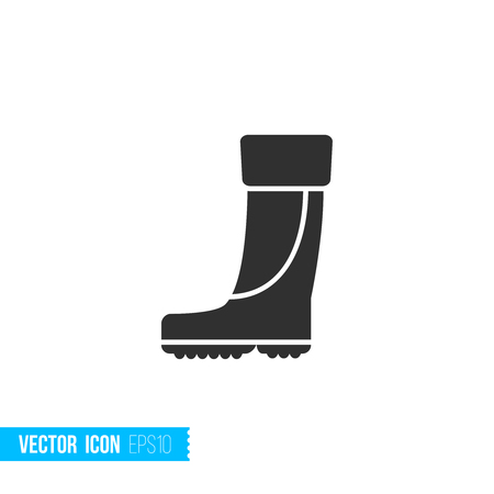 Rubber boots for fishing icon in silhouette flat style isolated on white background. Vector illustration. Illustration